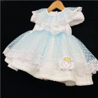 Gorgeous Baby Girl Pale Blue Puff Ball Lace Dress Romany